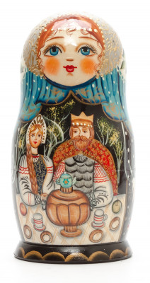 150 mm The Tale of Tsar Saltan hand painted on Wooden Matryoshka doll 5 pcs (by Valeria Crafts)