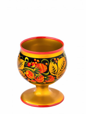 70x80 mm Khokhloma hand painted wooden Shot Glass (by Golden Khokhloma)