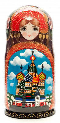 220 mm Moscow Saint Basil Cathedral handpainted Wooden Matryoshka Doll 7 pcs (by Sheherazade)