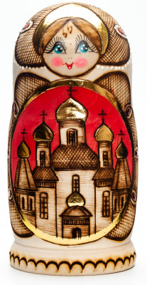 170 mm Moscow Cathedrals Wood Burned Doll 5 pcs (by Elena Crafts)