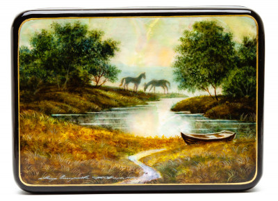 140x110 mm River Hand Painted Jewellery Box (by Tatiana Shkatulka Crafts)