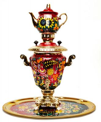 Firebird and Sunflower hand painted Electric Samovar Kettle with Teapot and Tray