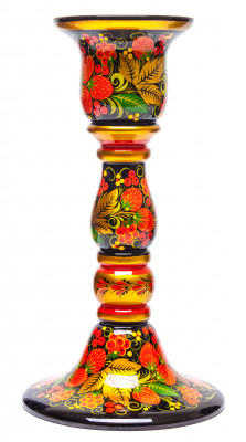 230x120 Strawberries Khokhloma handpainted Ornament on Carved Wooden Candlestick Holder (by Golden Khokhloma)