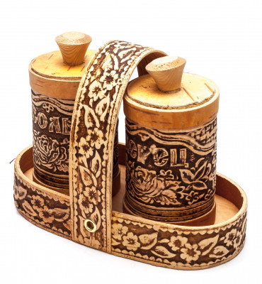 140x75 mm Salt and Pepper hand made birch Set with Tray (by Maxim Birch)