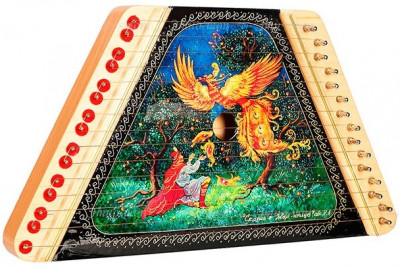 The Firebird hand painted wooden multi string Gusli (by Gusli Studio)