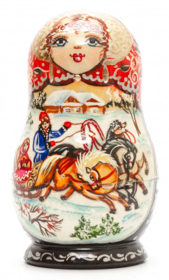 120 mm Russian Troika hand painted on Wooden Matryoshka doll 5 pcs (by Valeria Crafts)