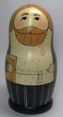 160mm Father Merchant hand painted Traditional Russian Wooden Matryoshka doll 5 pcs (by Igor Malyutin)