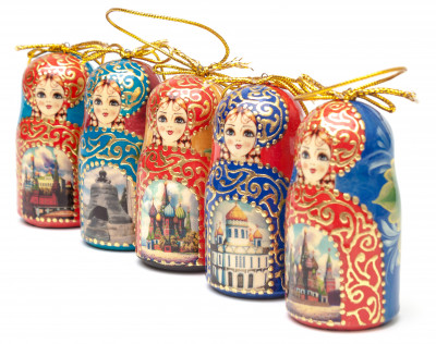 Moscow Churches Matryoshka Dolls Christmas Tree Ornaments Set of 5 pcs (by Ilya Studio)