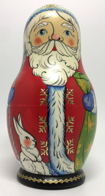 110 mm Santa Claus and Snowmaiden Princess hand painted wooden Matryoshka Doll 5 pcs (by Malutin Studio)