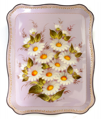 345x450 mm Daisies hand painted by Lopatina and lacquered Metal Forged Tray (by Lada Crafts)