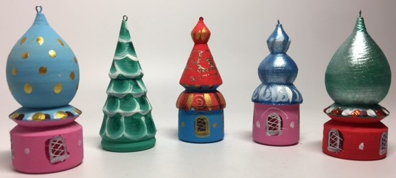 Russian Domes Hand Painted and Carved Christams Tree Wooden Ornaments set of 5 pcs (by Anatoly Christmas Crafts)