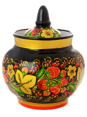 130x105mm Khokhloma hand painted ceramic Sugar Bowl (by Golden Khokhloma)