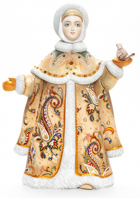 300 mm Noblewoman with a Bullfinch hand painted Wooden Statue (by Karpova Nadezda)