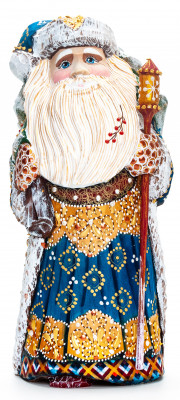220 mm Santa with a Magic Staff and a Christmas Green Tree handpainted Wooden Carved Statue (by Natalia Nikitina Workshop)