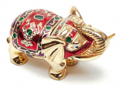 45 mm Elephant with the Stones Red Jewellery Box