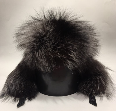 Silver Polar Fox Fur Bomber Hat