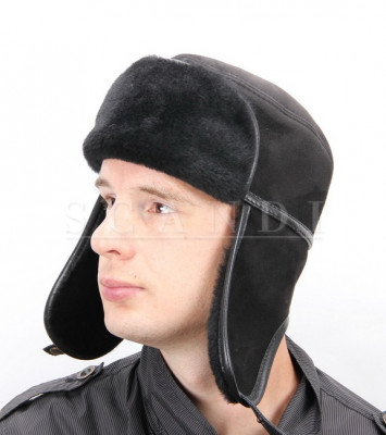 Black Sheepskin Ushanka Hat with Ear flaps (by Scandi Furs)