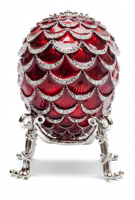 92 mm Red Pine Cone with Clock inside Easter Egg