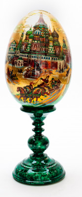 370 mm Saint Basil Cathedral hand painted on red colored wooden Egg with standby (by Alexander Green)