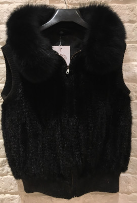 Black Mink Fur Spiral Cape with Arctic Fox Collar (sleeveless)