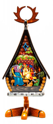 200x90mm The Hut on the Chicken Legs hand painted lacquered box from Palekh (by Pavel Studio)
