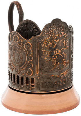 T-34 Tank Pure Copper Tea Glass Holder with Faceted Glass (by Kolchugino)