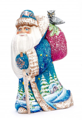 180 mm Santa with a Bag and a Magic Staff Carved Wood Hand Painted Collectible Figurine (by Igor Carved Wooden Figures Studio)