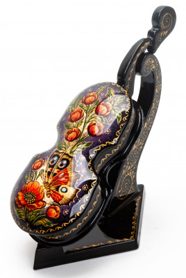 Butterfly and Poppies hand painted Lacquered Violin shaped Box from Mstera (by Sadko Workshop)