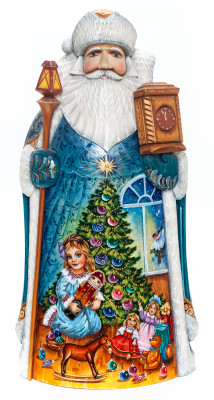 320mm Santa Claus with a Watches and a Magic Staff with handpainted Nutcracker Wooden Carved Statue (by Igor Carved Wooden Figures Studio)