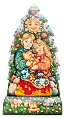 240 mm Children looking at Christmas gifts under the Tree wooden figurine