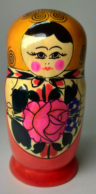 130 mm Golden Head Semenovskaya handpainted wooden Matryoshka Doll 6 pcs (by Ivan Studio)