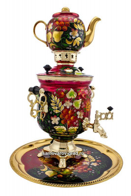Rowan Hand Painted Electric Samovar Kettle with Teapot and Tray