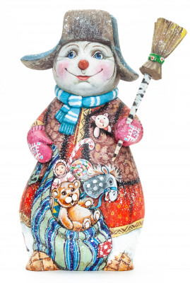 230 mm Snowman with a Broom hand painted (by Natalia Nikitina Workshop)