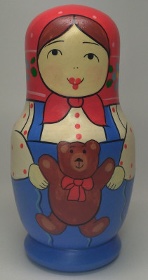 110mm Mistress with Toy Bear hand painted Traditional Russian Wooden Matryoshka doll 5 pcs (by Igor Malyutin)