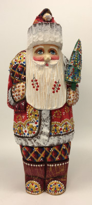 220 mm Santa Claus hand carved and painted wooden figure with a Green Tree and Bag of Gifts (by Natalia Workshop)