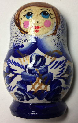 40x60 mm Gzhel Patterns Hand Painted Russian Doll fridge magnet (by Elena Maidan Dolls Crafts)