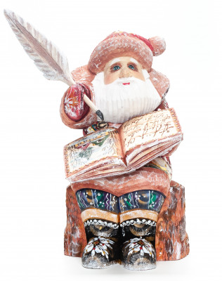 220 mm Santa Claus with a Book and a Feather Carved Wood Hand Painted Collectible Figurine  (by Igor Carved Wooden Figures Studio)