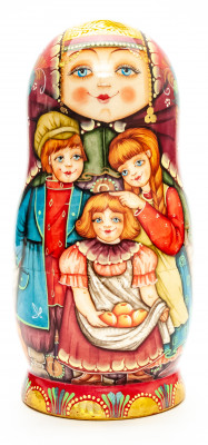 180 mm Kids hand painted on wooden Matryoshka doll 5pcs (by Vladislav Wooden Toys)
