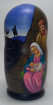 180mm The Nativity of Jesus hand painted on wooden Matryoshka doll 5 pcs (by Alexander Famous Paintings Studio)