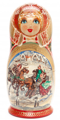 340 mm Russian Troika handpainted Wooden Matryoshka round Doll 15 pcs (by Valery Crafts)