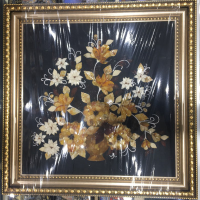 700x700 mm Bouquet of Flowers Still Life on blue background hand made of natural Baltic Sea Amber stones (by Russian Amber)