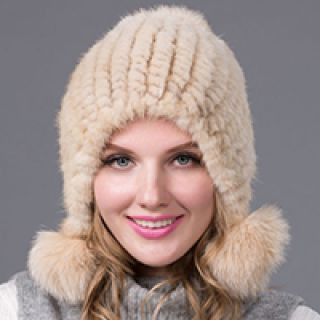 Knitted Mink Hat with Pompons, cream color