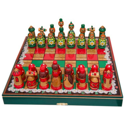 Wooden Chess Board with Matryoshka Hand Painted Chess Pieces