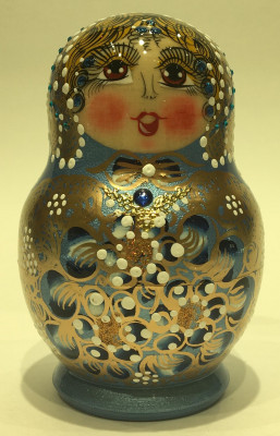 120 mm Russian North Pattern hand painted Wooden Matryoshka Doll 5 inside (by Snezana Studio)