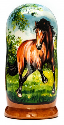 180mm Horse hand painted on wooden Matryoshka doll 5 pcs (by Alexander Famous Paintings Studio)