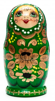 100 mm Flowers hand painted wooden Matryoshka doll 5 pcs (by Skazka)