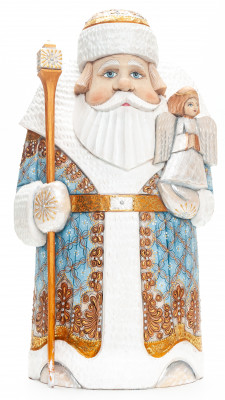 260 mm Santa with a Bag and an Angel Carved Wood Hand Painted Collectible Figurine (by Natalia Nikitina Workshop)