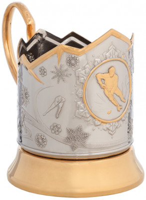 Hockey Gold Plated Brass Tea Glass Holder with Crystal Glass and Gold Plated Tea Spoon (by Kolchugino)