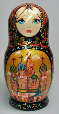 140 mm Moscow Snt Basil Cathedral hand painted on wooden Matryoshka doll 5 pcs (by A Studio)