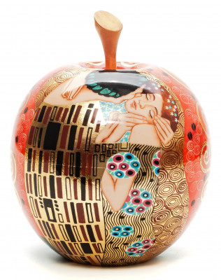 The Kiss by Klimt on Apple shaped Jewellery Box Hand Painted Wooden Box (by Semino Crafts)